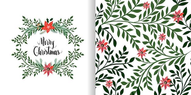 Conjunto de natal com padrão sem emenda e cartão, grinalda floral, design sazonal de inverno
