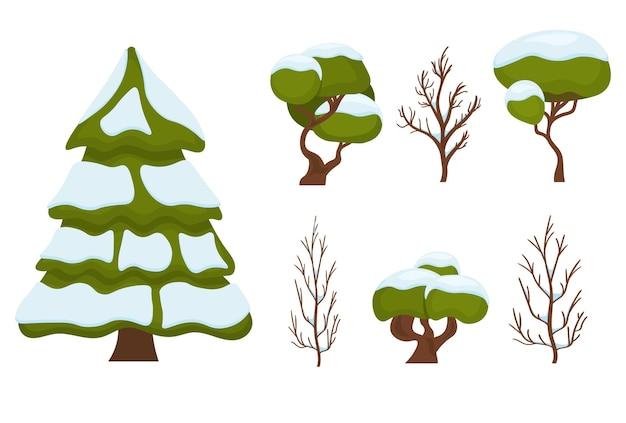 Conjunto de natal de árvore verde de ano novo e árvores de inverno de símbolo tradicional de natal na neve e limpo