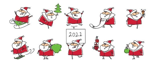 Conjunto de natal de diferentes papais noéis com presentes de natal, árvore, animais e outros em estilo cartoon