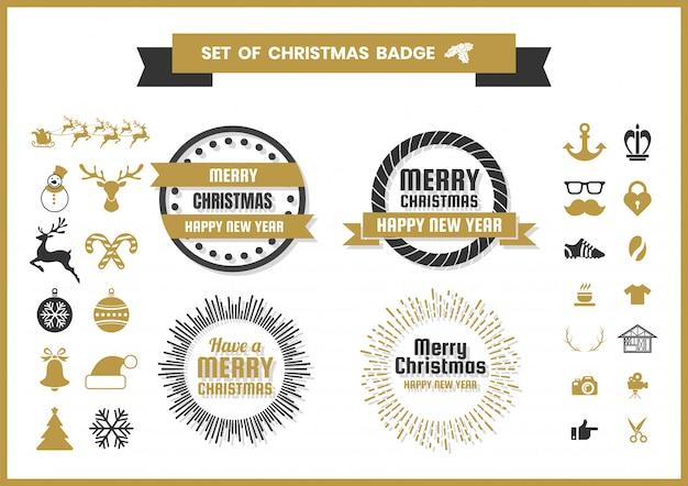 Conjunto de natal de logotipos, emblemas de comida e ícones