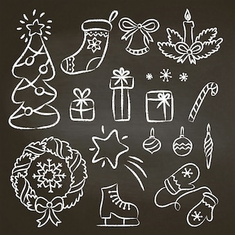 Conjunto de natal de rabiscos de giz mão desenhada contorno