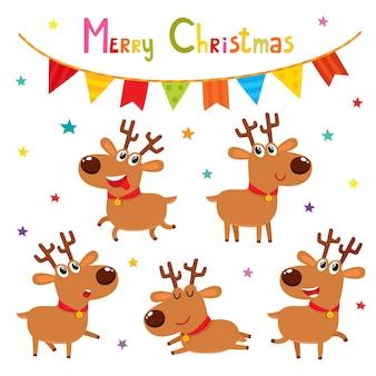 Conjunto de natal de renas emocionais dos desenhos animados bonitos. personagens animais - símbolo do ano novo. coleção de veados, estrelas, guirlandas.
