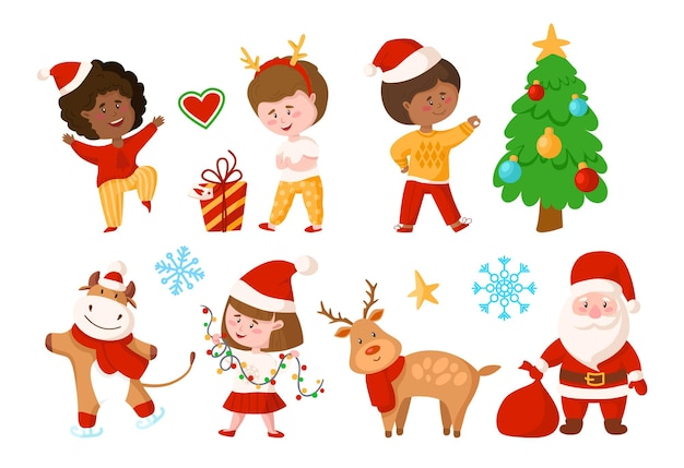 Conjunto de natal - desenho animado menino e menina, árvore de natal, caixa de presente, rena, papai noel