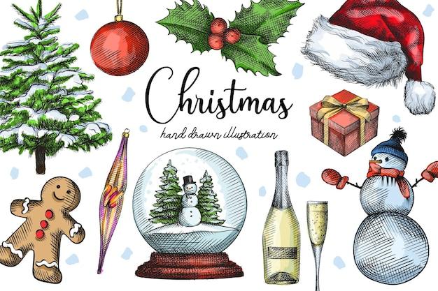 Conjunto de natal e ano novo desenhado à mão aquarela colorida.