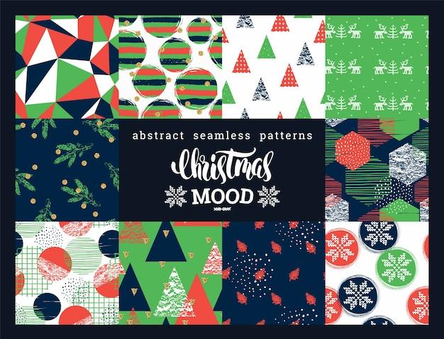 Conjunto de natal e ano novo. padrões abstratos geométricos e decorativos sem costura.