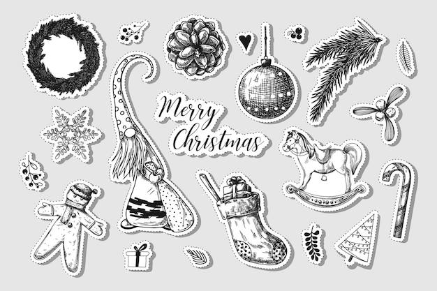Conjunto de natal. elementos diferentes de natal. adesivos de ano novo. sketch vector