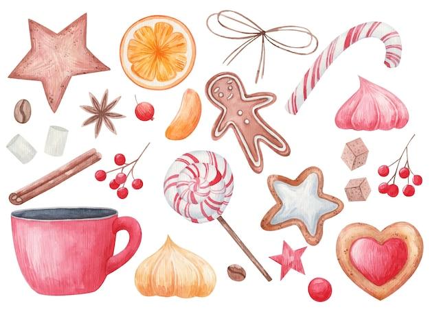 Conjunto de natal, especiarias e guloseimas de natal, pirulitos, uma xícara de café, fatias de frutas cítricas, biscoitos, anis estrelado, ilustração de aquarela em um fundo branco
