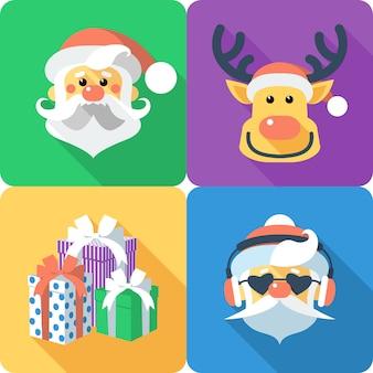 Conjunto de natal ícone design plano