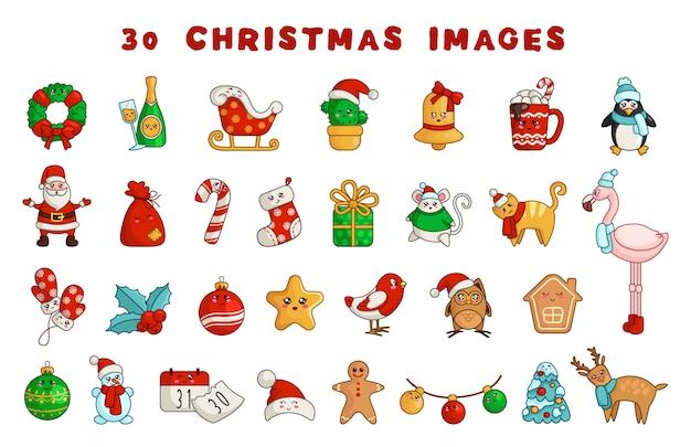 Conjunto de natal kawaii de decorações de ano novo