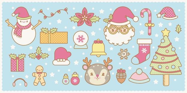 Conjunto de natal kawaii