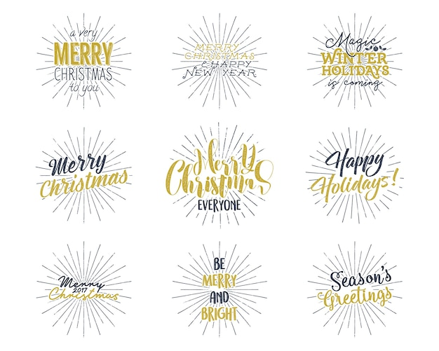 Conjunto de natal, letras de ano novo, desejos, provérbios e rótulos vintage.
