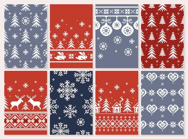 Conjunto de natal sem costura padrão textura infinita para papel de parede estilo retro.