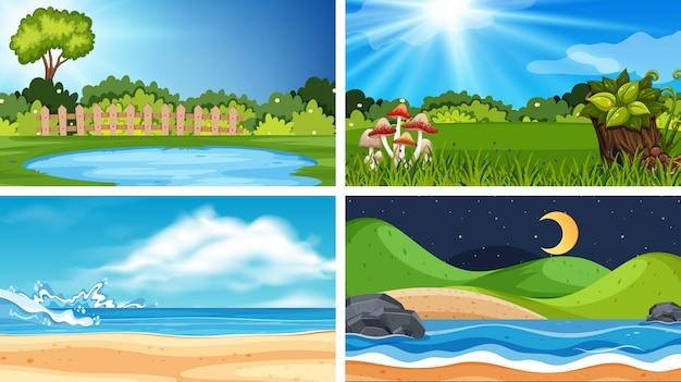 Conjunto de natureza diferente cenas de fundo