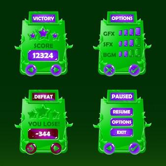 Conjunto de natureza jogo ui kit pop-up