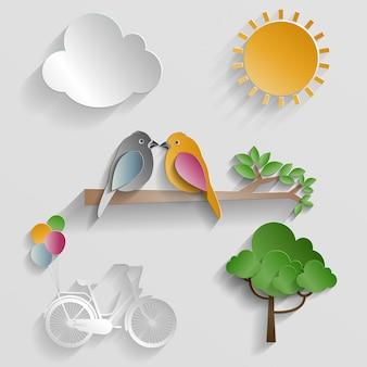 Conjunto de natureza. pássaro, nuvem, sol e bicicleta em fundo cinza