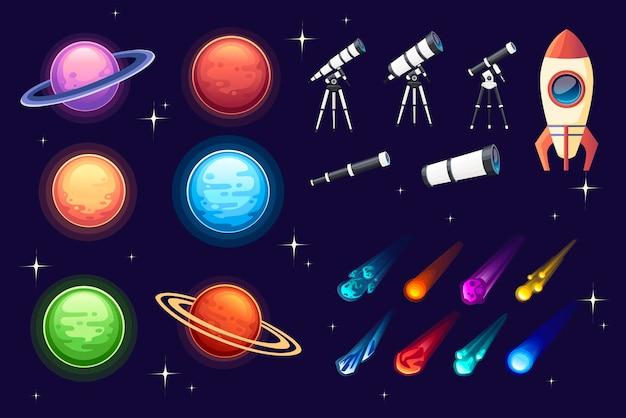 Conjunto de nave espacial de planeta de ícone de espaço colorido, telescópio, asteróide e outros ilustração vetorial plana em fundo escuro.