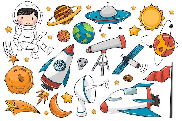 Conjunto de nave espacial desenhada à mão e astronauta