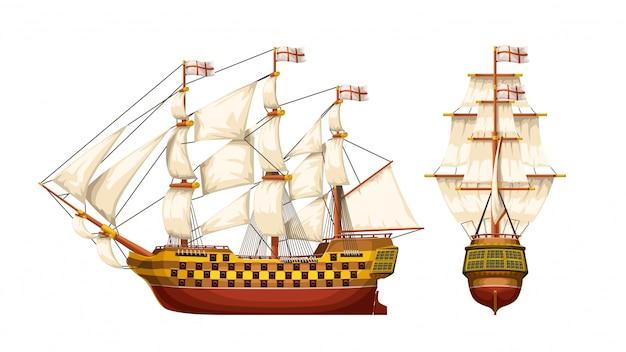 Conjunto de navio de guerra antigo
