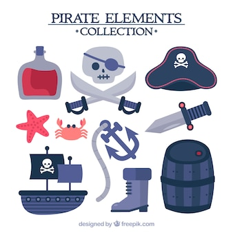 Conjunto de navio e outros elementos piratas