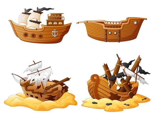 Conjunto de navio pirata quebrado