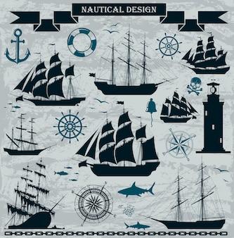 Conjunto de navios à vela com elementos de design náutico.