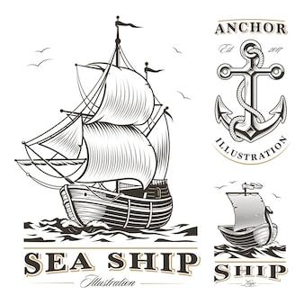 Conjunto de navios antigos em fundo branco. navio, barco e âncora. todos os elementos estão na camada separada.