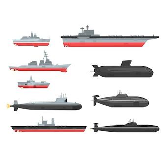 Conjunto de navios de combate navais, barcos militares, navios, ilustrações submarinas em um fundo branco