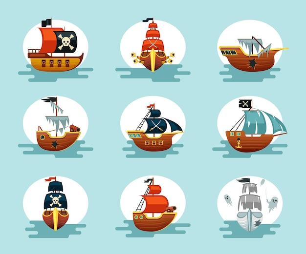 Conjunto de navios de desenhos animados de pirata. brinque de escunas corsárias, velas esfarrapadas e âncoras de canhões