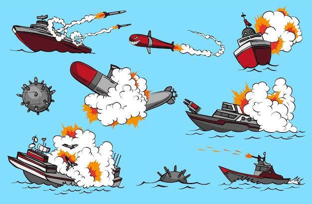 Conjunto de navios de guerra de quadrinhos