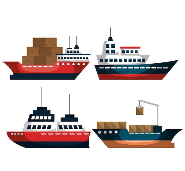 Conjunto de navios de transporte marítimo vector design ilustração