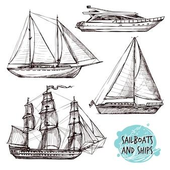 Conjunto de navios de vela