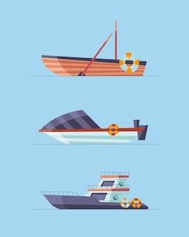 Conjunto de navios e barcos
