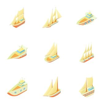 Conjunto de navios, estilo cartoon