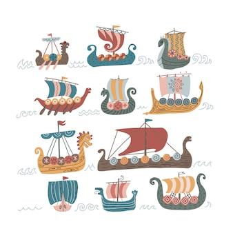 Conjunto de navios norman escandinavo viking