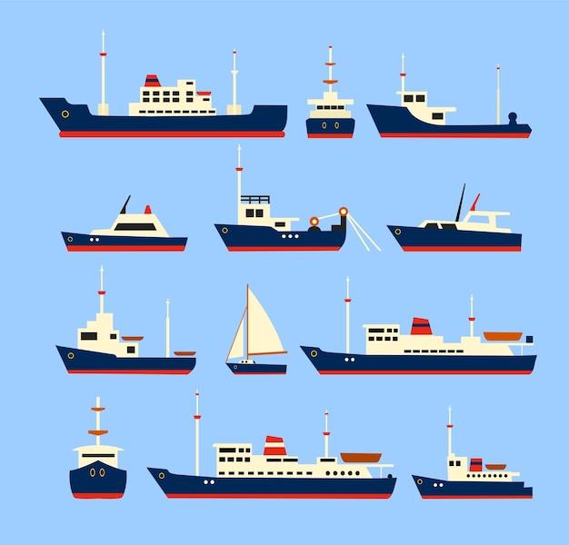 Conjunto de navios. silhuetas de vários navios e iates.