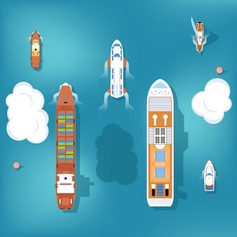 Conjunto de navios. vista do topo.