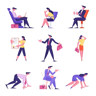 Conjunto de negociações de homens e mulheres de empresários no escritório