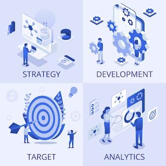 Conjunto de negócios analíticos de meta de desenvolvimento de estratégia