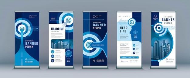 Conjunto de negócios arregaçar. standee. modelo de banner, seta e alvo