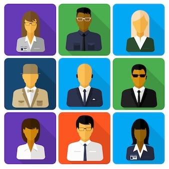 Conjunto de negócios de avatares elegantes de meninas de mulher e caras de homem em estilo design plano
