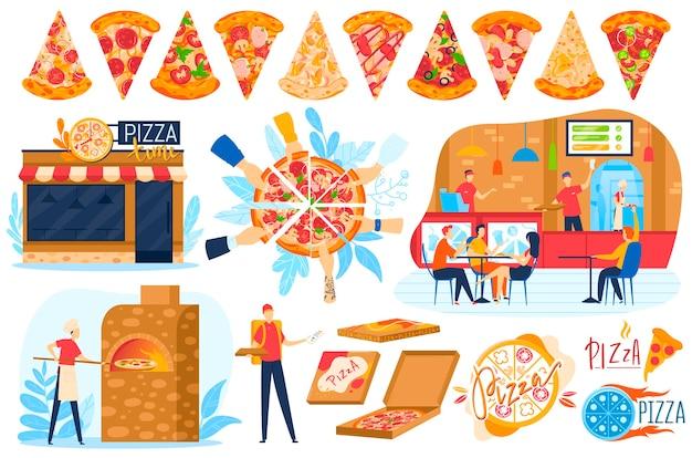 Conjunto de negócios de comida de pizza isolado no branco