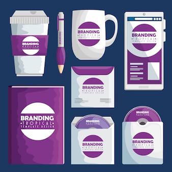 Conjunto de negócios de design de produto tropical