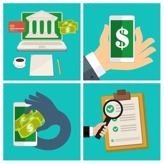 Conjunto de negócios de design plano de conceito de internet banking