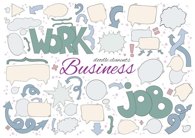 Conjunto de negócios de discurso e pensamento bolhas de elementos.