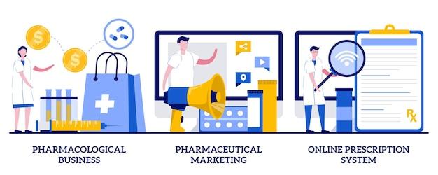 Conjunto de negócios farmacológicos, marketing farmacêutico, sistema de prescrição online