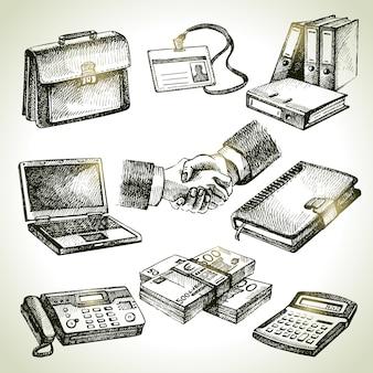 Conjunto de negócios. ilustrações desenhadas à mão