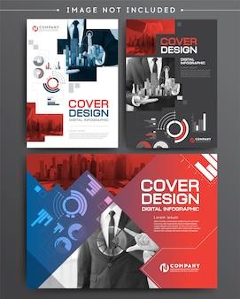 Conjunto de negócios infográfico de modelo de folheto de capa de negócios