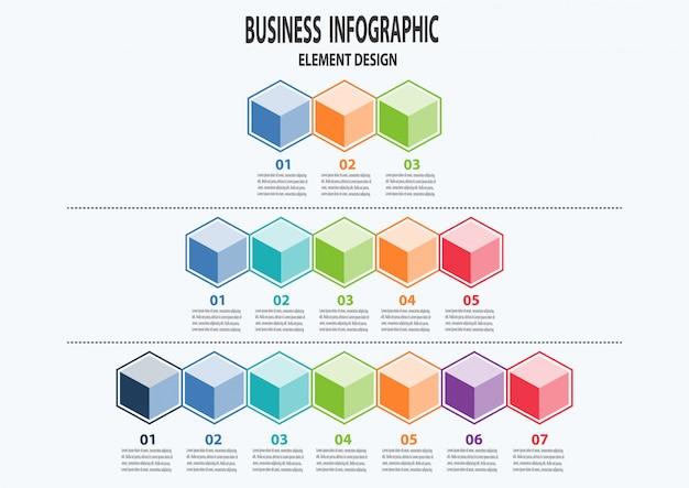 Conjunto de negócios infográfico pode ser usado para layout de fluxo de trabalho, diagrama, peças, etapas