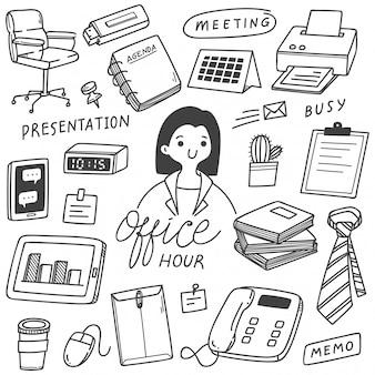 Conjunto de negócios mão desenhada doodles