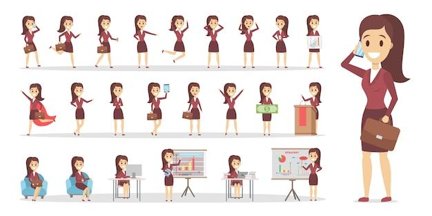 Conjunto de negócios mulher ou escritório trabalhador personagem de terno com várias poses, enfrentar emoções e gestos. ilustração em vetor plana isolada